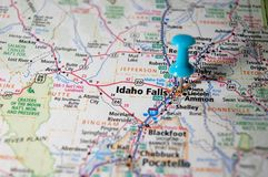 Idaho Falls, Idaho. A map of Idaho Falls, Idaho marked with a push pin Stock Images