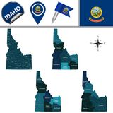 Map of Idaho with Regions. Vector map of Idaho with named regions and travel icons Stock Images