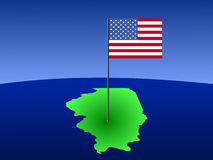 Map of Illinois with Flag. Map of Illinois with American Flag on pole Royalty Free Stock Photography