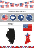 Map of Illinois. Set of flat design icons nfographics elements w. Ith American symbols Stock Photos