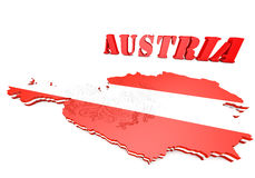 Map illustration of Austria with flag Royalty Free Stock Image