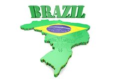 Map illustration of Brazil. 3D map illustration of Brazil with flag and coat of arms Royalty Free Stock Photography