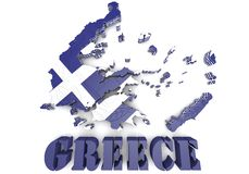 Map illustration of Greece with flag Stock Photo