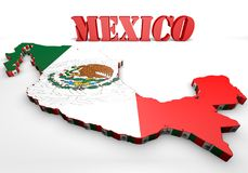Map illustration of Mexico with flag. 3d map illustration of Mexico with flag and coat of arms Royalty Free Stock Image