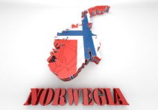 Map illustration of Norway. 3d map illustration of Norway with Flag Royalty Free Stock Image