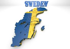 Map illustration of Sweden. 3D map illustration of Sweden with flag Royalty Free Stock Photos