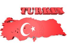 Map illustration of Turkey with flag Royalty Free Stock Photography