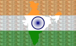 Map of India with 100 rupees Royalty Free Stock Photo