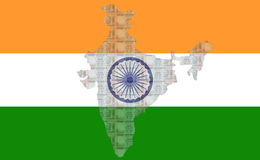 Map of India with 100 rupees. Map of India with flag and 100 rupees Royalty Free Stock Images