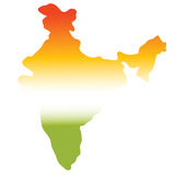 Map of india. In tri colours, green, white, orange Royalty Free Stock Photography