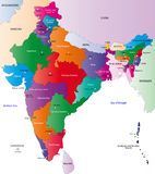 Map of India. India map designed in illustration with the regions colored in bright colors and with the main cities. On an illustration neighbouring countries royalty free illustration