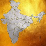 Map of India, Asia with all states and country boundary in creative digital silver abstract pattern on shining golden background. India outline silhouette of map Royalty Free Stock Image