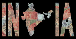 Map of India with cash. Map of India with text on Indian Rupees illustration Royalty Free Stock Photos