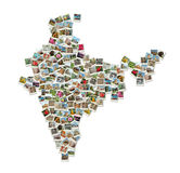Map of India - collage made of travel photos Stock Images