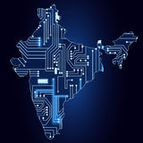 Map of India with electronic circuit Royalty Free Stock Photo