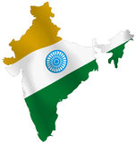 Map of India flag. The Indian Map with Indian Flag Colors - A Tricolor concept Royalty Free Stock Photography