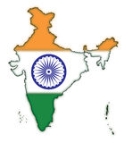 Map of India Flag Concept-1. The Indian Map with Indian Flag Colors - A Tricolor concept. Designed by an Artist from India [An authentic formation - not to scale Vector Illustration