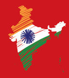 Map of India Flag Concept-2 Stock Photo