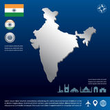 Map of india. And flag and landmark on blue background Stock Photography