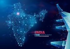 Map of India. Floating blue plexus geometric background. Creative abstract vector. High tech, communications and travel. Polygonal vector illustration