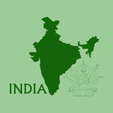 Map of India. With the goddess Kali Royalty Free Stock Images
