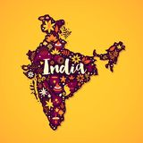 Map of India illustration with abstract and national elements. Can be used for traveling advertising. Map of India illustration with abstract and national Stock Illustration