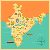 Map of India. Illustration of kitsch art of forming map of India Stock Photography