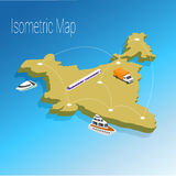 Map India isometric concept. Royalty Free Stock Images