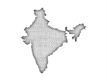 Map of India on old linen Stock Photography