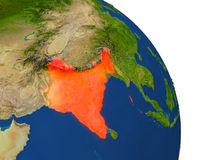 Map of India in red. Map of India with surrounding region on planet Earth. 3D illustration with highly detailed planet surface. Elements of this image furnished Stock Photography
