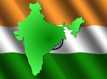 Map of India on rippled flag Stock Photography
