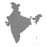Map of India with rivers and lakes. Stock Photography
