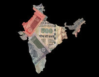 Map of India with rupees. Map of India with colorful rupees notes illustration Royalty Free Stock Photo