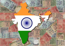 Map of India with Rupees Stock Photos