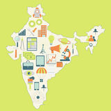 Map of India with technology icons Stock Image