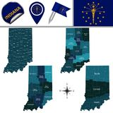 Map of Indiana with Regions. Vector map of Indiana with named regions and travel icons Royalty Free Stock Photos