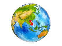 Map of Indochina on 3D Earth isolated. Indochina on 3D model of Earth with country borders and water in oceans. 3D illustration isolated on white background royalty free stock photo