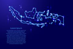 Map Indonesia from the contours network blue, luminous space sta Stock Photography