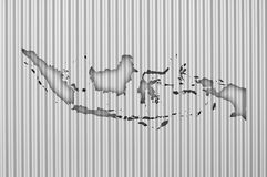 Map of Indonesia on corrugated iron. Colorful and crisp image of map of Indonesia on corrugated iron stock image