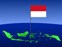 Map of Indonesia with flag Stock Image