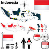 Map of Indonesia. Vector of Indonesia set with detailed country shape with region borders, flags and icons Stock Image