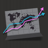 Map infographic whith arrow Stock Image