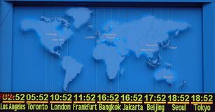 Map with international timezone. Blue map with international timezone Royalty Free Stock Images