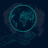Map of internet communications at low poly hands stock illustration