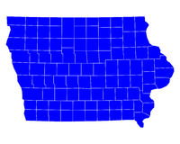 Map of Iowa. Detailed and accurate illustration of map of Iowa Stock Photo