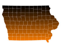 Map of Iowa. Detailed and accurate illustration of map of Iowa Royalty Free Stock Photo