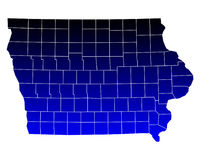 Map of Iowa. Detailed and accurate illustration of map of Iowa Stock Images