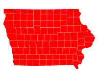 Map of Iowa. Detailed and accurate illustration of map of Iowa Royalty Free Stock Photography