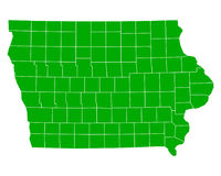 Map of Iowa. Detailed and accurate illustration of map of Iowa Stock Image
