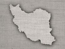 Map of Iran on old linen Stock Photography